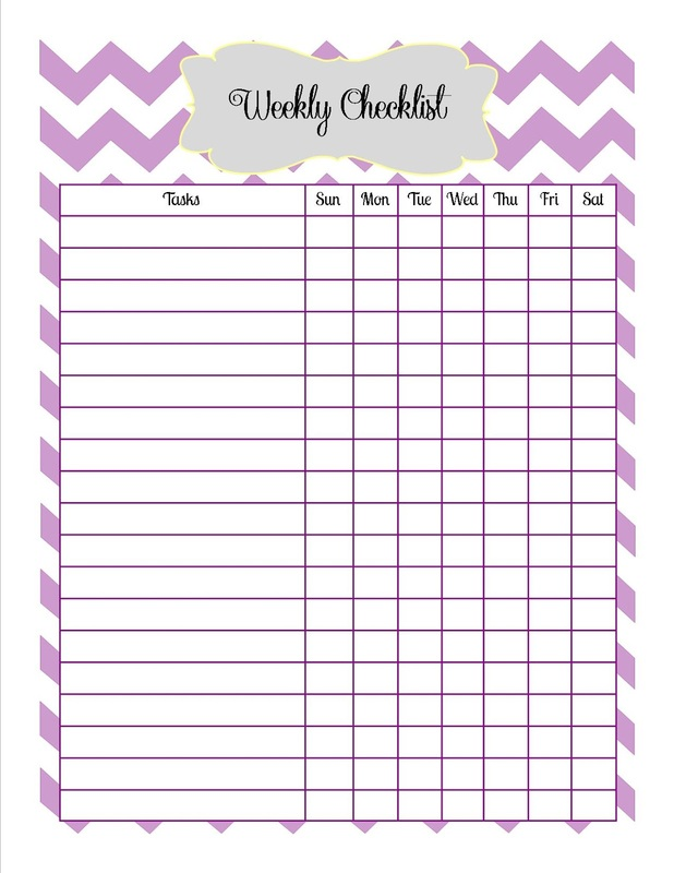 Weekly Checklist Printable  Old Post From Old Blog With Printable